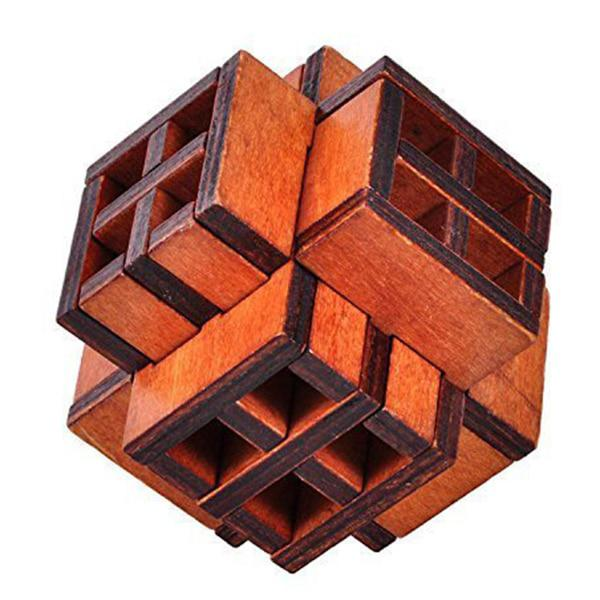 3D Wooden Window Cube Lock Burr Puzzle Brain Teaser Puzzles Removing Assembling Toy