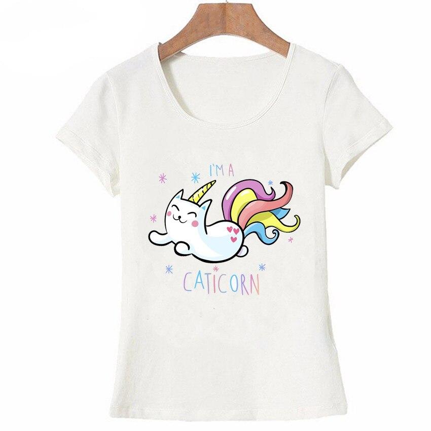 IO SONO UN CATICORN di Disegno T-Shirt Donne di modo di Estate T-Shirt Bel Gattino Stampa Casual Magliette e camicette 1