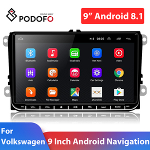 Image 1 - Podofo 9 inch car stereo 2+32GB Android 8.1 Car Multimedia player 2 Din Car radio Wifi GPS MP5 Player Mirror link For VW /SKoda