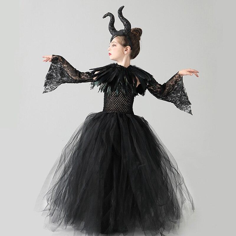 Kids Black Devil Tutu Costume Gothic Halloween Girls Fancy Tutu Dress with Feather Shawl Royal Dark Queen Maleficent Gown Dress (2)