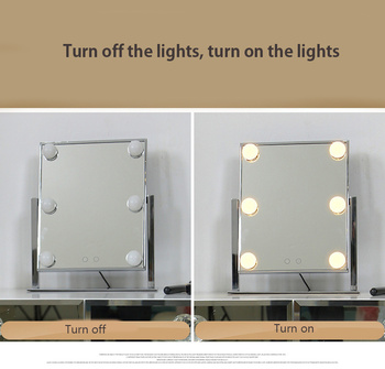 Desktop Folding Square 6 LED Frosted Bulbs Makeup Mirror With Light HD Fill Light European Princess Mirror Light Table Lamp