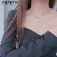 OBEAR 14k Real Gold Plating Korean Heart Pendant Necklace Woman Sweet Elegant Romantic Engagement Wedding Classic Jewelry Gift