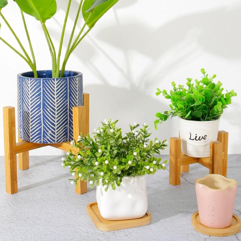 Wooden Plant Stand Durable Flower Pot Holder Home Decoration Floor Four Legged Flower Stand Wooden Shelf Fleshy Flowerpot