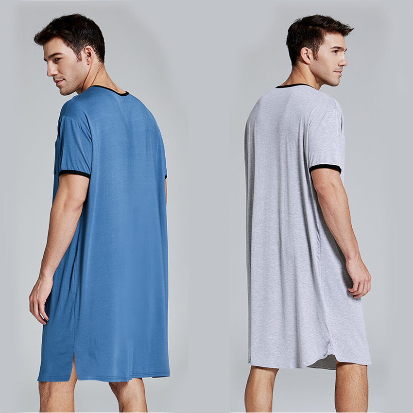 Men Short Sleeve Cotton Robes Vintage Pajamas O Neck Pockets Solid Color Nightgown Kaftan Mens Bathrobes Homewear M-3XL