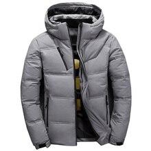 Duck down jacket men curto quente grosso qualidade zíper com capuz para baixo casacos masculinos jaqueta de inverno