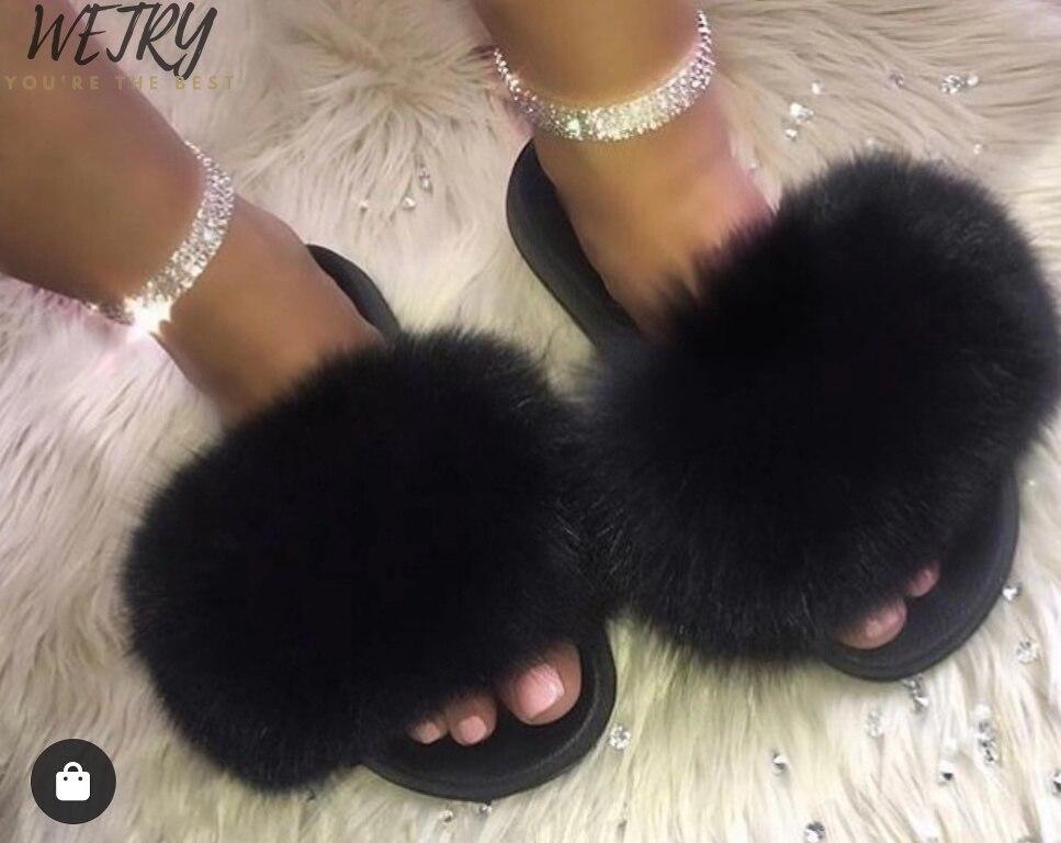 2020 Women's Furry Slippers Ladies Cute Plush Fox Hair Fluffy Slippers Women's Fur Slippers Winter Warm Slippers For Women Hot