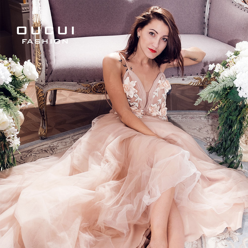 Image 2 - Sexy V Neck Robe De Soiree 2019 Evening Dress Long Prom Dresses Wedding A Line Lace Flower Special Occasion Ball Gown OL103253-in Evening Dresses from Weddings & Events