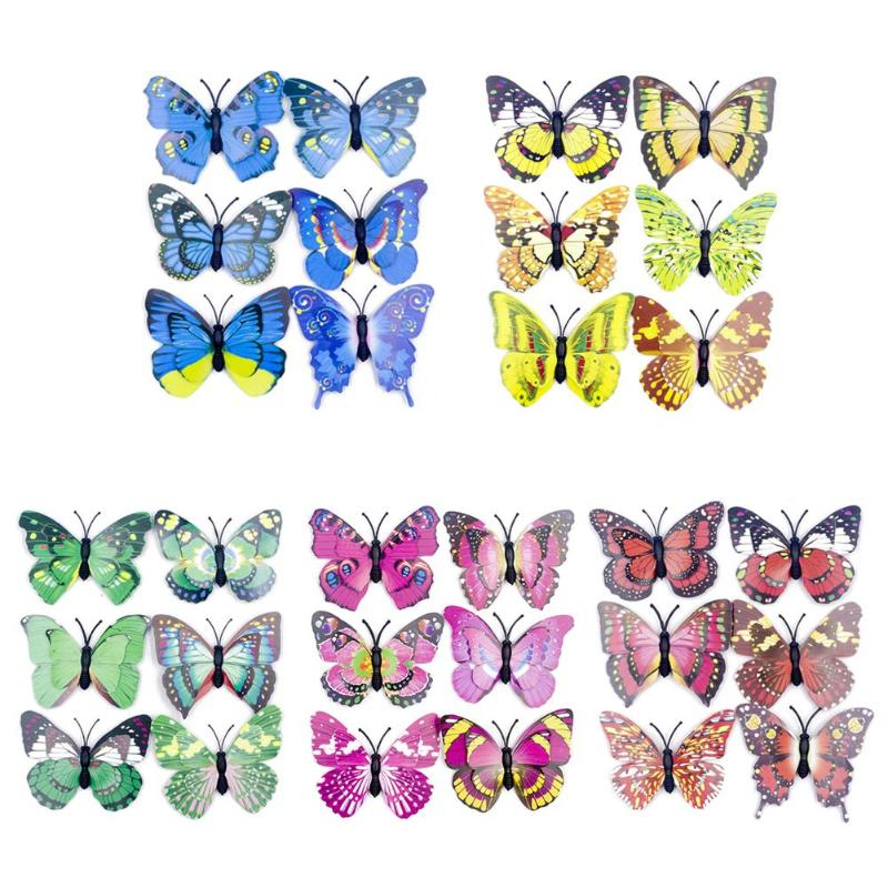 6x Double Layers 3D Luminous Butterfly Stickers Room Glowing Switch Wall Decor