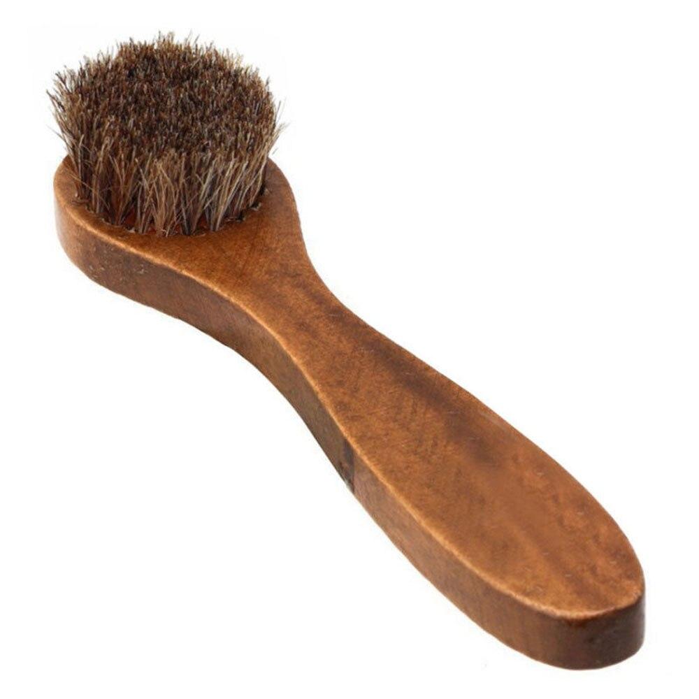 Wood Handle Bristle Horse Hair Brush Shoe Boot Polish Shine Cleaning Dauber Lp