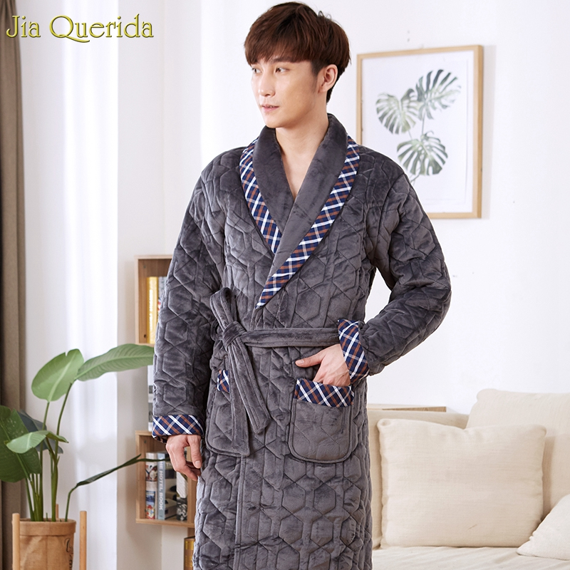 Mens Robes Long Chinees Direct Luxury Male's Pajama Robe Fashion Embossing Pattern 3 Layer Thick Winter Mens Kimono Plus Size