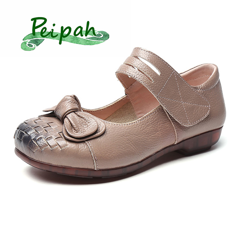 PEIPAH Vintage Handmade Folk Style Women Flats Casual Shoes Genuine Leather Lady Soft Bottom Shoes Woman Fashion Loafers