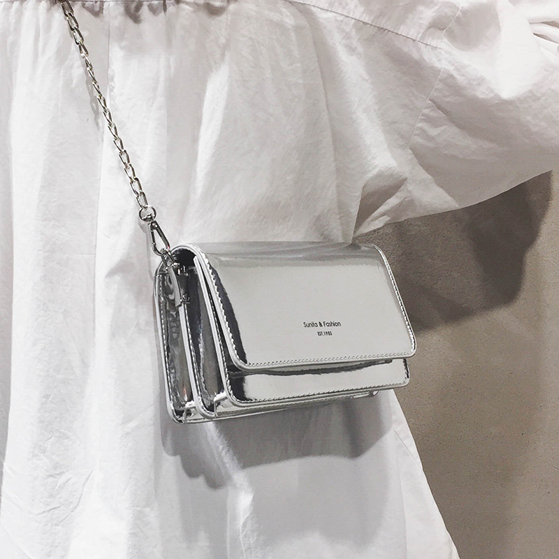2019 Women Shoulder Bag Chain Strap Flap Designer Handbags Clutch Bag Lady Silver Messenger Bags Holographic Luis Vuiton Gg Bag