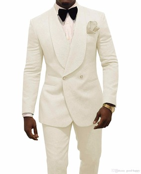 JELTONEWIN Men Wedding Suits 2020 Ivory Double Breasted Men Suits Slim Fit Groom Tuxedos Groomsman Blazer Suits For Men 2 Piece custom made men suits fashion groom suits tuxedos black lapel single breasted men wedding suits tuxedos groomsman suits jacket