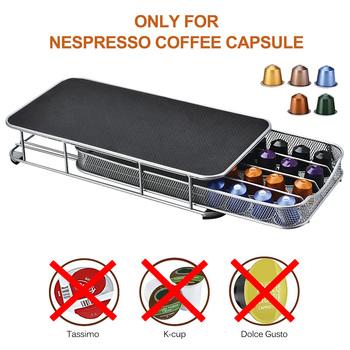Stal nierdzewna 40 filiżanek Nespresso kapsułki do kawy uchwyt na kapsułki stojak do przechowywania szuflady do szafek kapsułki do kawy organizacja półek tanie i dobre opinie Other Ponad osiem częściowy zestaw coffee capsule bracket