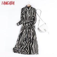 Tangada İngiltere tarzı moda bağbozumu basit Zebra desen parti Midi elbise kadın Vestidos Slash 6D08