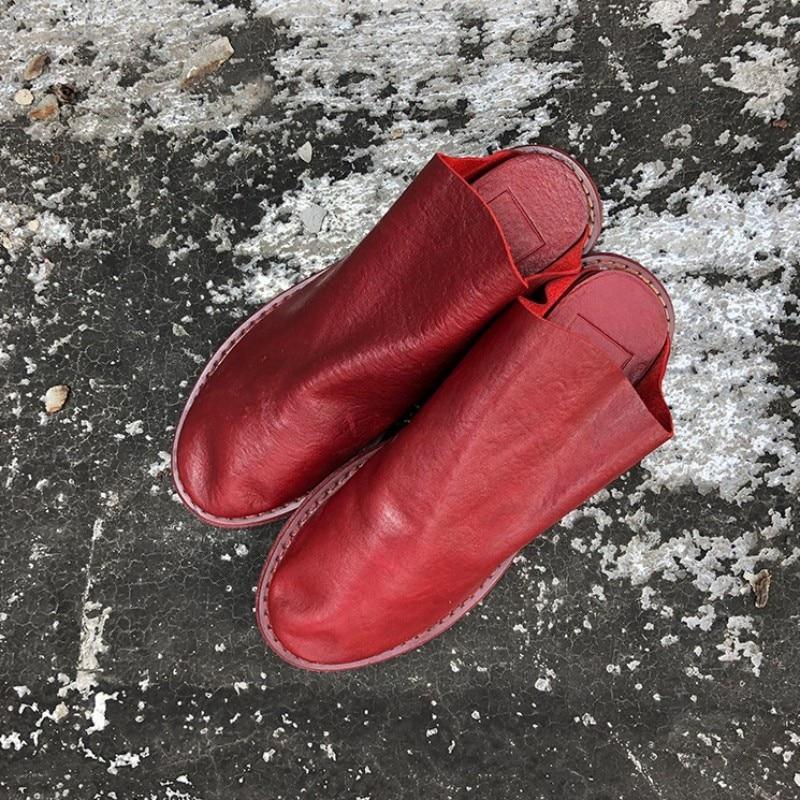 chinelos de couro genuíno 2021 harajuku artesanal senhoras fora sandálias
