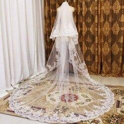 Высокое качество аккуратные кружева 2 слои, свадебная фата 2 т 3 метры свадебная вуаль с гребнем Соборная вуаль покрытие лица свадебные аксес...
