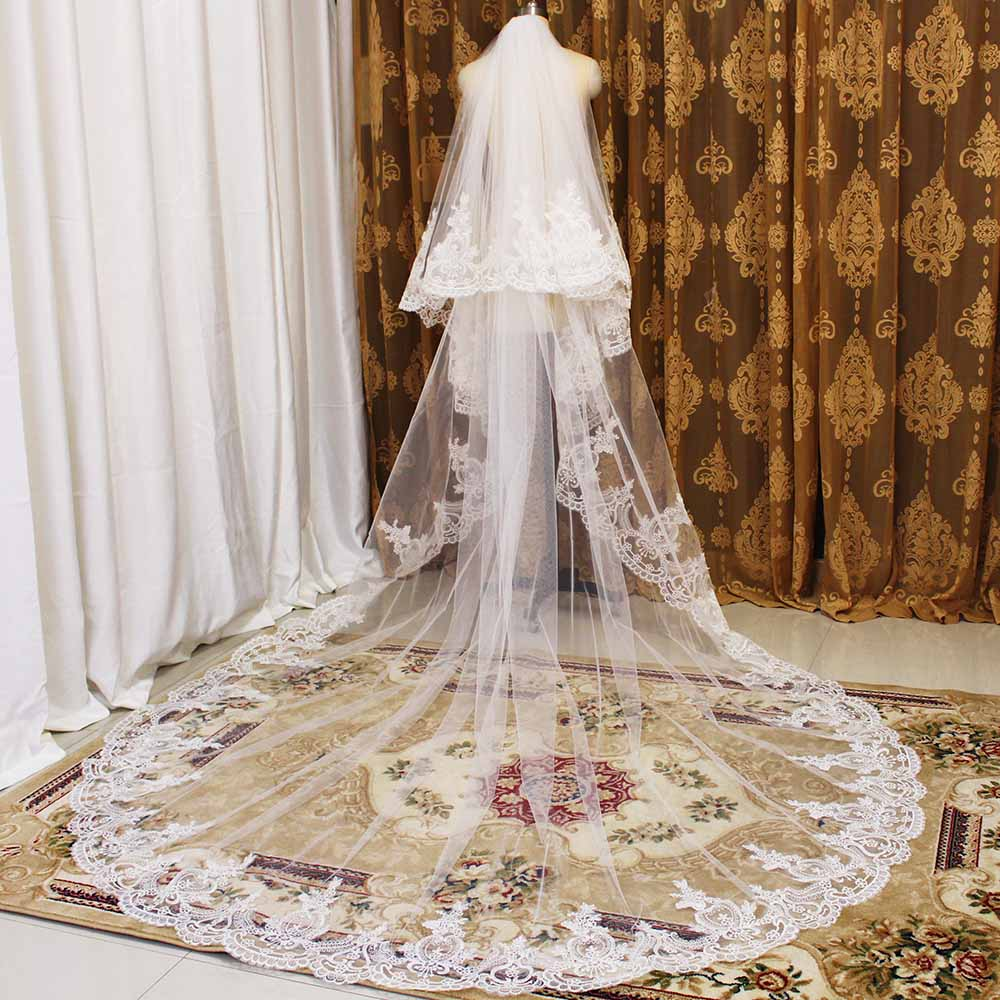 High Quality Neat Lace 2 Layers Wedding Veil 2T 3 Meters Bridal Veil With Comb Cathedral Veil Cover Face Wedding Accessories