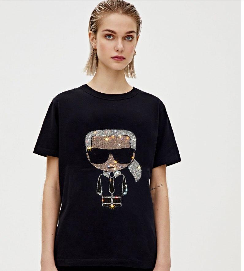 2020 New Style Diamonds  Tshirt Hot Drill  T Shirt Women Tshirts Streetwear