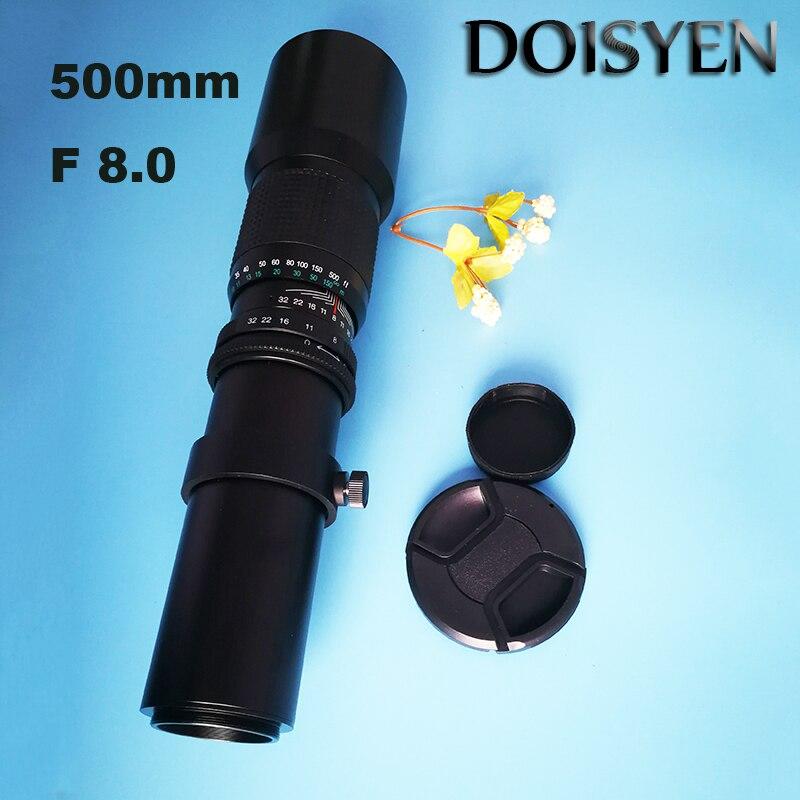 Téléobjectif F8.0 500mm Zoom manuel avec téléobjectif à monture en T pour Nikon Canon T4i T3i T3 T2i XTi XSi XS 7D 60Da appareil photo reflex numérique