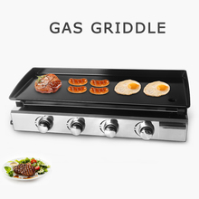 Gzzt Steel Flat Grill BBQ Frying Griddle LPG Gas Non-stick Iron Plancha 2/3/4 Burners Outdoor Camping Courtyard Cooking CE