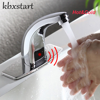 Hot & Cold Bathroom Automatic Touch Free Sensor Faucets water saving Inductive electric Water Tap mixer battery power fashion style automatic sense faucet for kitchen bathroom basin water saving electric sensor water tap mixer