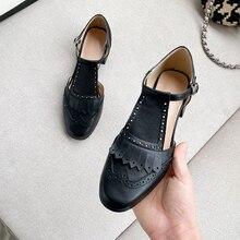 Women Sandals Oxford-Shoes Flats-Bow Leatehr Summer Platform Gladiator Cow Vintage