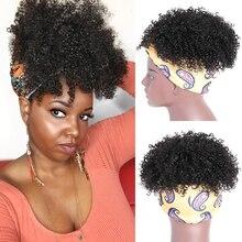 Афро короткий кудрявый вьющиеся парики из натуральных волос с Африканской структурой, Обёрточная бумага парик 2 в 1 афро парик с головной по...