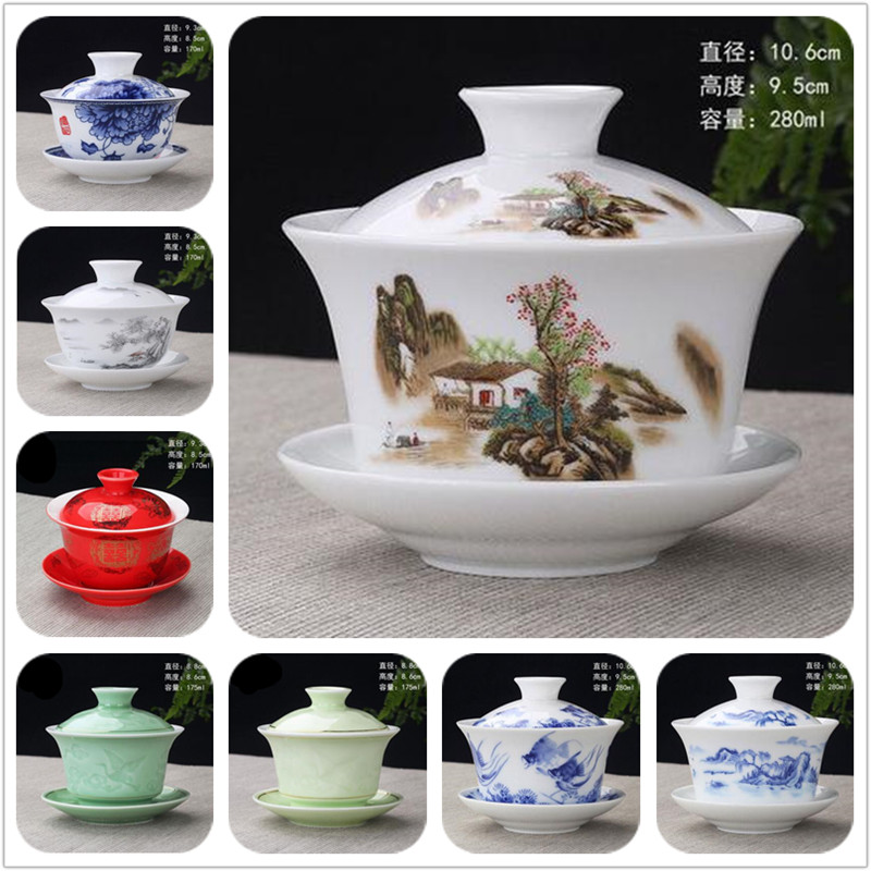 Hand Painted Rich Fish Ceramic Porcelain Gaiwan Chinese Kung Fu Tea Set Handmade Teaware Tureen Sancai Tea Cup Pu'er Kettle