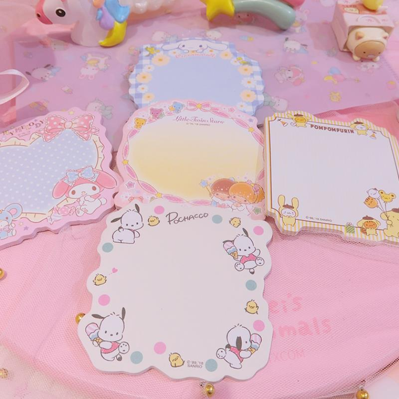 30 Pages /Pack Cute Melody Twin Stars Pudding PC Dog Cartoon Memo Pads Sticky Notes Message Stickers Toys For Kids Student Gift