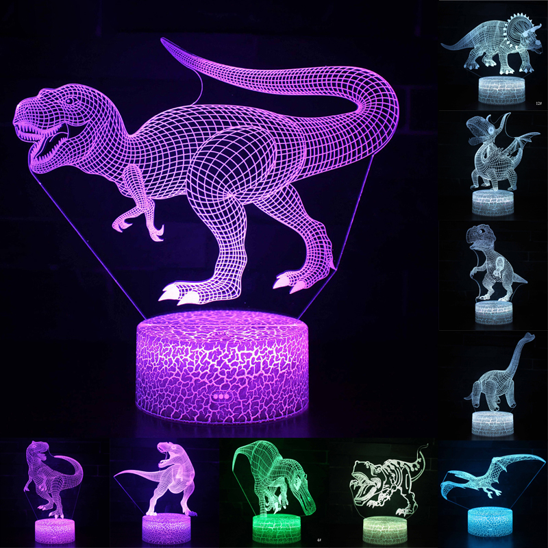 3D LED Night Light Lamp Dinosaur Series 16Color 3D Night light  Remote Control Table Lamps Toys Gift For kid Home Decoration D23 3