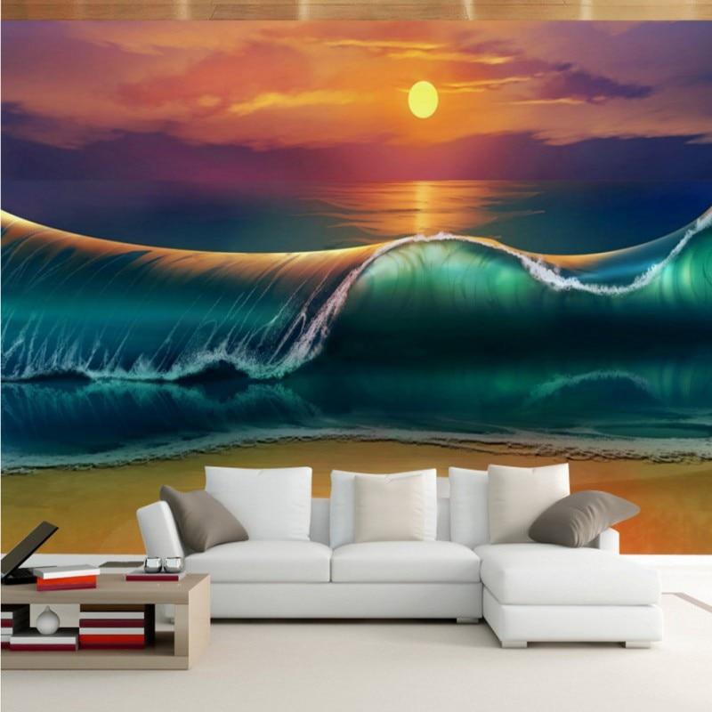 Drop Shipping Photo Wallpaper 3D Ocean View Sea Waves Living Room TV Wall Wallpaper Lobby Wallpaper Custom Mural