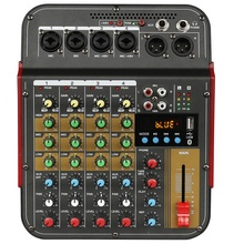 TM4 Digital 4-Channel o Mixer Mixing Console Built-In Phantom Power with o System for Studio Recording(EU Plug)