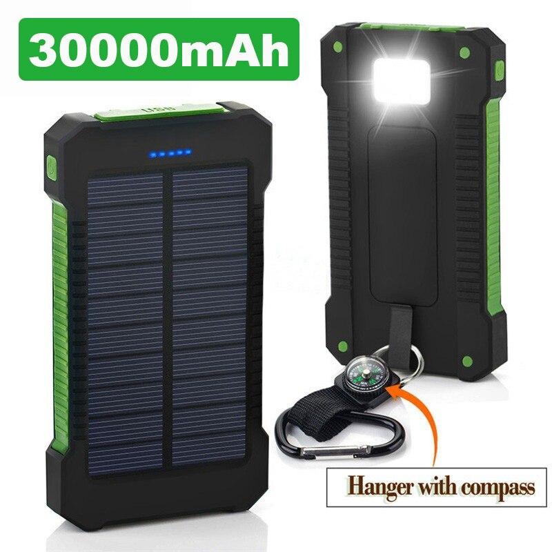 ホット太陽光発電銀行防水 30000 2600mah のソーラー充電器 2 USB ポート外部充電器 Powerbank シャオ mi mi iPhone 8 スマートフォン