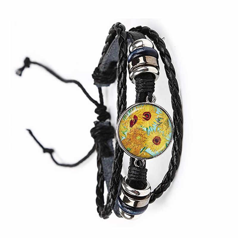 אופנה פשוט סגנון עור צמיד ואן גוך מפורסם אמן ליל כוכבים מתכוונן צמיד זכוכית קרושון תכשיטי לנשים גברים