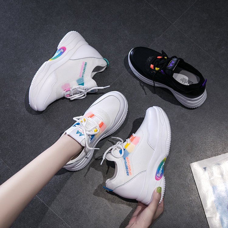 Liren 2019 Summer Air Mesh New Lady Casual Comfortable Women Vulcanize Shoes for Sport Lace-up Flat Heels