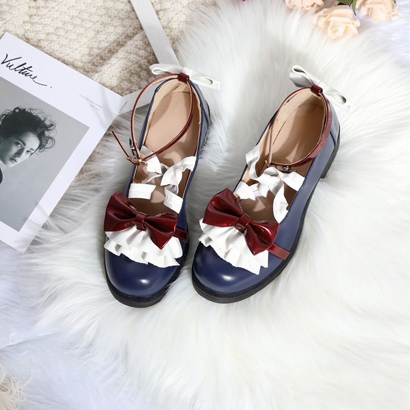 2020 New Design Blue White <font><b>Red</b></font> Snow White <font><b>Lolita</b></font> <font><b>Shoes</b></font> for Women Girls Students OP PU Leather <font><b>Shoes</b></font> Bowknot Round Toe <font><b>Shoes</b></font> JSK image