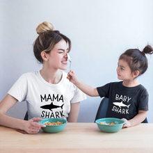 Одинаковая одежда для семьи с акулой футболка мамы и сына топы