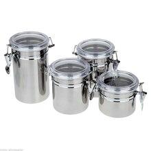 4 шт канистра из нержавеющей стали для хранения специй набор кухонных банок горшки Органайзер