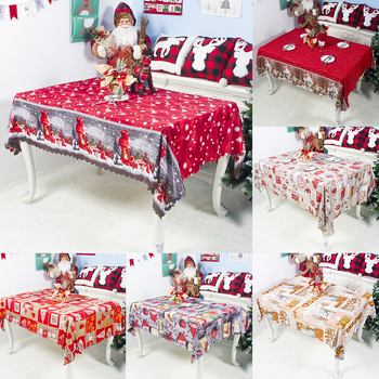 Christmas Themed Table Cloths Rectangle Printing Tablecloth Dustproof 3D Table Cover Dinner Tablecloth Home Xmas Party Decor 1PC image