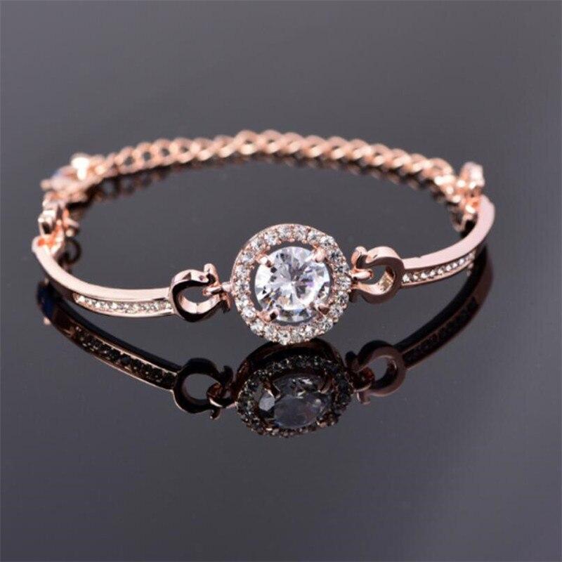 Female Flower Zircon Stone Charm Bracelets for Women Fashion Jewelry Bangles Simple Brand Bracelet