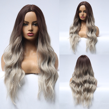 Blonde Unicorn Synthetic Long Wavy Dark Root Ombre Grey Brown Wigs Center