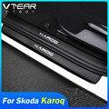 Vtear для Шкода Карок Skoda Karoq наклейки на пороги автомобильный Стайлинг Защита от царапин накладки отделка из углеродного волокна внешние аксе...