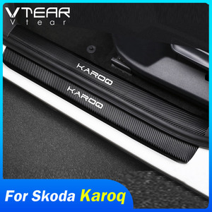 Vtear for Skoda Karoq door plate sill stickers car-styling anti-scuff protector covers trim carbon fiber exterior accessories