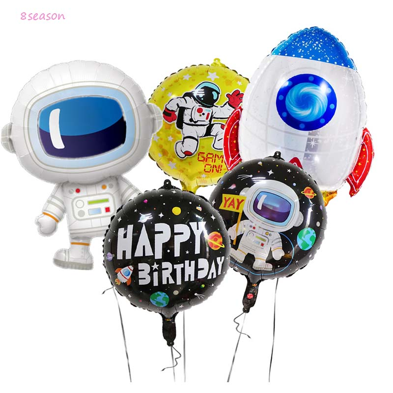 5PCS Solar System Theme Party  Outer Space Astronaut Rocket Ship Foil Balloons GalaxyBoy Kids Birthday Decor