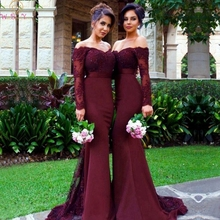 Elegant Burgundy Lace Mermaid Bridesmaid Dresses 2019 Women Off The Shoulder Long Sleeves Dress Formal Party Gowns