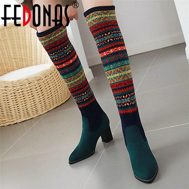 FEDONAS مختلط الألوان الجوارب أحذية النساء فوق حذاء برقبة للركبة حجم كبير أحذية ذات كعب عالي امرأة الخريف الشتاء الدافئة طويلة الأحذية