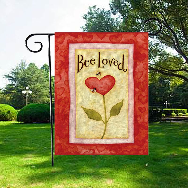 47*32cm Happy Valentine\'s Day Linen Garden Flag Decorative Hanging Ornament Indoor Outdoor Garden Yard Decoration
