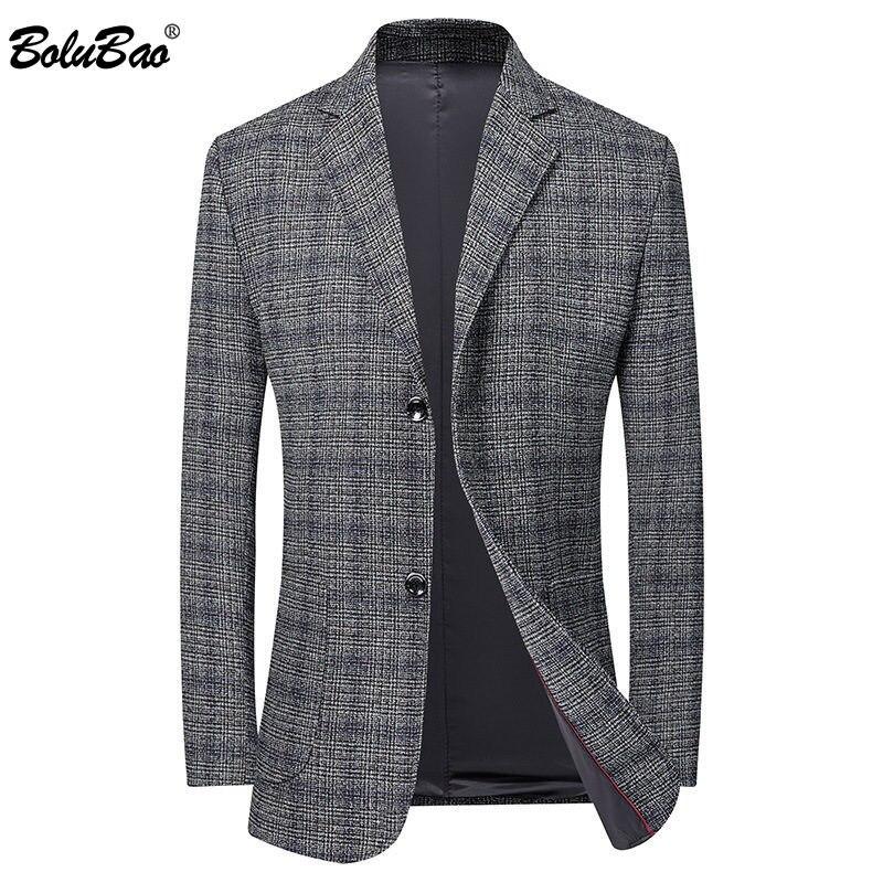 BOLUBAO Men Blazer Brand Street Style Spring New Men's Slim Fit Suit High Quality Lattice Korean Version Blazer Male