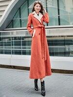 Winter New Woolen Jacket Female Long style Slim Waist Orange Stitching Fashion Overcoat Women Wool Coat